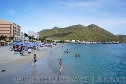 Hills and beach and ocean in Captain Hodge Wharf in Philipsburg St Maarten.jpg