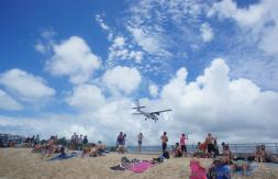 PJ-WIT Airplane about to land at Princess Juliana International Airport.jpg
