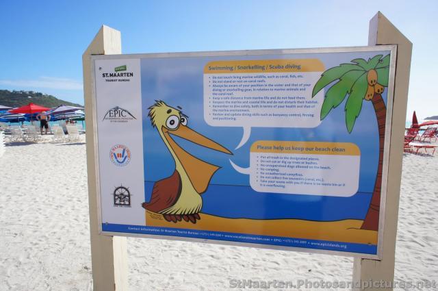 st maarten tourist bureau information board on beach of. Black Bedroom Furniture Sets. Home Design Ideas