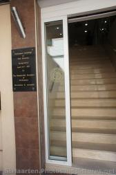 Entrance to the St Maarten Parliament Building and plaque that says it was inaugurated apr 28 2011 by Honourable President of Pa