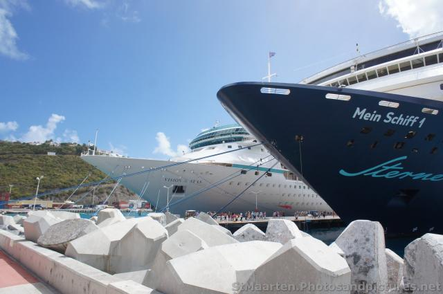 Royal Caribbean Vision of the Seas and Mein Schiff 1 Cruise Ship docked at St Maarten.jpg